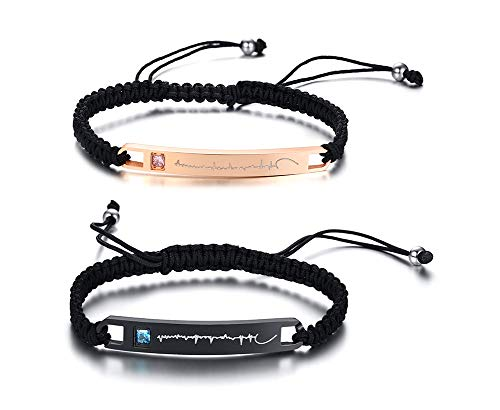 Personalized Custom His and Hers Handmade Rope Braided Nameplate ID Matching Couple Bracelets for Lover