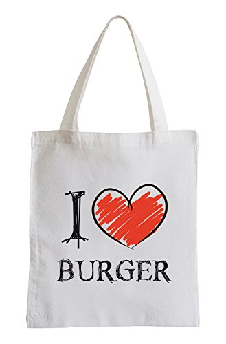 I Love Burger Fun Sac de Jute