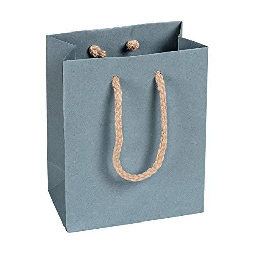 Papiertragetasche Blau, 16 x 19 x 8 cm, mit Baumwollhenkel Papiertasche, Geschenktüte Kraftpapier - 12 Stück/Pack