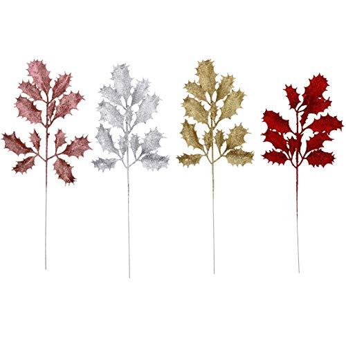 NUOBESTY Folhas de glitter de Natal, 8 peças, guirlanda de 38 x 15 cm, guirlanda de frutas silvestres artificiais, prata brilhante, folhas de Natal para festa de casamento