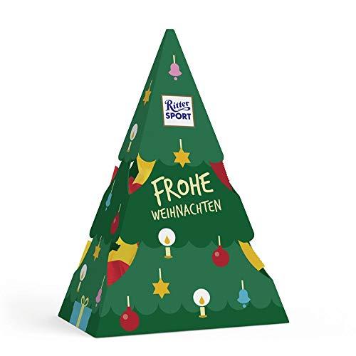 RITTER SPORT Weihnachtstanne (53 g), Schokoladen-Geschenk und Dekoration, mit gefüllter Vollmilchschokolade, kleine Tischdeko zu Weihnachten & Nikolaus