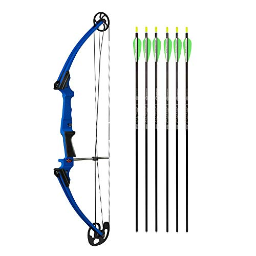 Genesis Bows Original Bow with Adjustable Draw Weight for Beginner Archers of All Ages, and Six Easton NASP Arrows Kit (Blue, Left Hand)