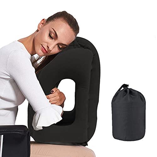 VinMas Reisekissen Schlafhilfe, Premium-Komfortable Aufblasbare Tragbare Kopfnackenstütze Kissen, Design für Flugzeuge, Autos, Busse, Züge, Büro Nickerchen, Outdoor Camping - Schwarz