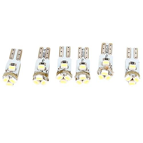 Luz de salpicadero de coche - SODIAL(R)6pzs T5 3020 Blanco 5 LED Lamparas de salpicadero Bombillas Luces laterales Interno