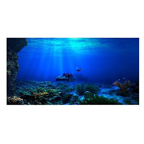 Aquarium Hintergrund HD U-Boot Coral Reef Foto Tapete Aquarium Fisch Meer Wandbild XXL U-Boot Underwater Welt Wanddekoration (122 x 50 cm)