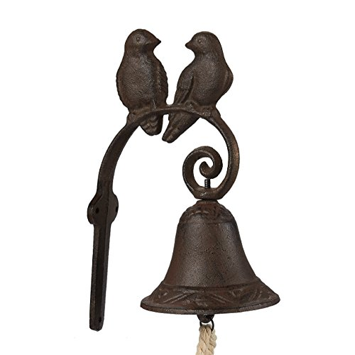 Juvale Rustic Cast Iron Love Birds Door Bell - Decorative Vintage Antique Farmhouse Style Decoration for Outside House, 4.5 x 8.5 x 1.5 Inches