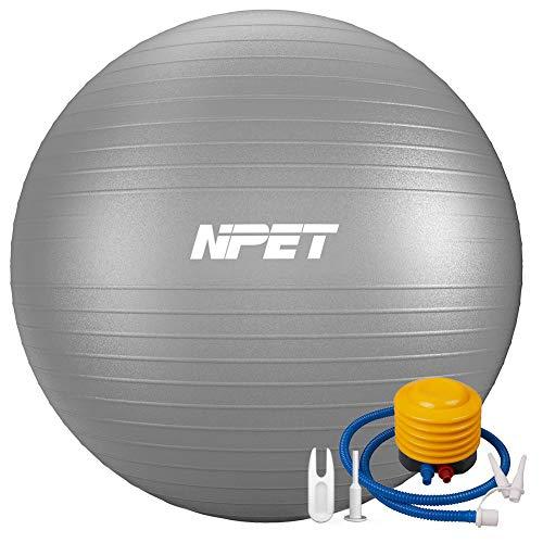 NPET バランスボール 55/65/75cm アンチバースト 分厚い 耐荷重1000KG ヨガボール エクササイズボール 椅子 フットポンプ付き 滑り止め材料 ストレッチ (シルバー, 65cm)