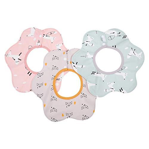 Toddmomy 3 Piezas Babero de Algodón para Bebés Pequeños Eructos Paños Giratorios con Forma de Flor Toallas de Eructo Absorbente de Sudor Babero de Muselina Trapos para Bebés Recién Nacidos