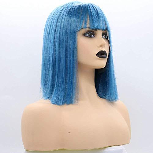 Blauwe pruiken voor vrouwen haar korte blauwe bob synthetische lace front pruik met pony party pruik 12 inch