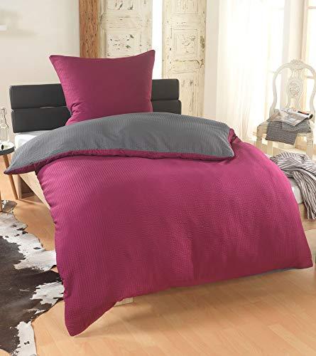 BFW Dreamhome 2-4teilig Dreamhome Uni fein Seersucker Wende Bettwäsche Bettbezug für Bettdecke Kissenbezug 80x80, Farbe:Bordo-GRAU, Größe:135 x 200 cm