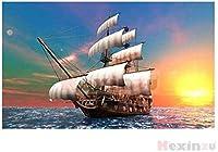 DIY 5Dダイヤモンド塗装帆船大型フルキットフルラウンドダイヤモンド塗装帆船刺繍モザイククロスステッチウォールステッカーデコレーションギフト