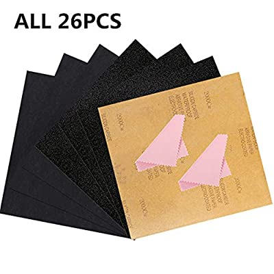 Firefly-web All 26PCS Sandpaper Kit, Dry Wet Waterproof Sanding Paper Sheets 80 To 2000 Assorted Grit for Automotive Polishing Metal Sanding Wood Furniture Finishing Jewelry Cleaning 9 x 11 Inch
