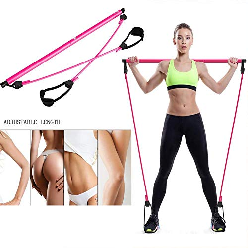 Pilates Stick met Foot Loop, Portable Pilates Bar Kit instelbare lengte elastisch koord, Yoga Oefening Resistance Band, for Afvallen, Stretch, Twisting (Color : Pink)