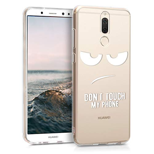 kwmobile Funda para Huawei Mate 10 Lite - Carcasa de TPU para móvil y diseño Don't Touch my Phone en Blanco/Transparente