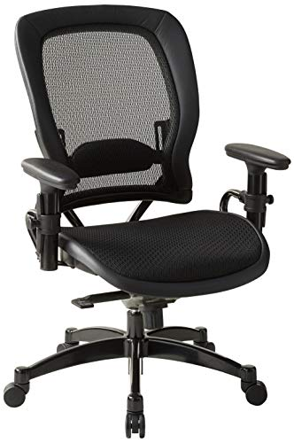 SPACE Seating Breathable Mesh Seat and Back, 2-to-1 Synchro Tilt Control, Adjustable Arms and Lumbar Support, with Gunmetal Finish Base Managers Chair, Black