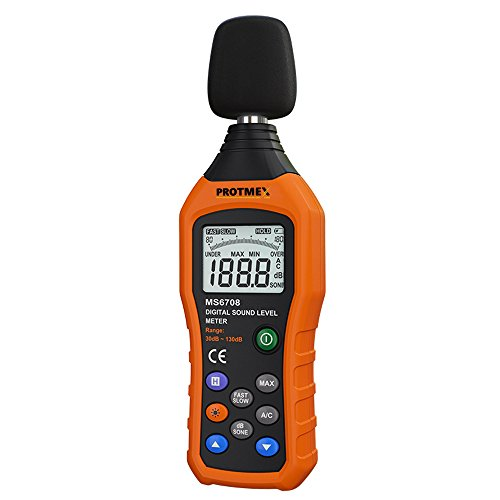 Protmex MS6708 Sound Level Meter Digital Sound Level Meter Reader Measurement Range 30-130 dBA Accuracy 1.5dB Noise Meter with Large LCD Screen Display Fast and Slow Selection