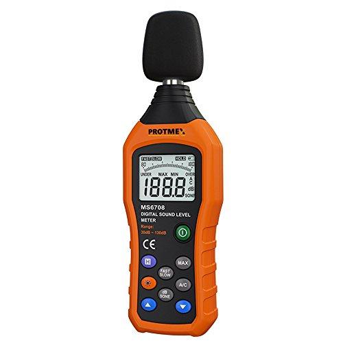Protmex Schallpegelmesser Nosie Tester Meter Tragbar Digital Sound Level Meter Schnell Reagierend Hinterbeleuchtung Messung Range 30-130dB MS6708