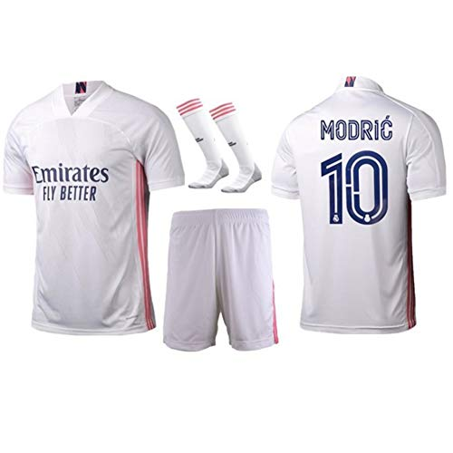 WASX Premium Soccer Uniforms for Kids, Modric #10 Boys' Football Jersey Fan Shirts, Children Football Short Sleeve + Shorts + Socks,L