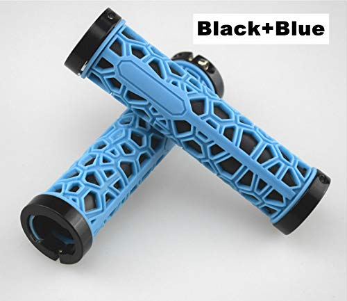 Bike Handlebar Grips, Polygon Water Cube Bike Grips Non-Slip Ultra-Light Bilateral Lock Fashion Bicycle Handle Grips for Mountain Bike Adult Bike 24 inch Bicycle,Black+Blue