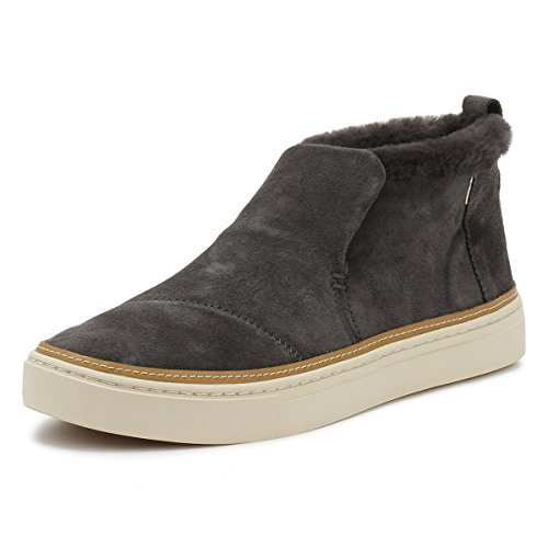TOMS Women's Paxton Mid Cut Slip-on Forged Iron Grey Suede/Faux Fur 8 M