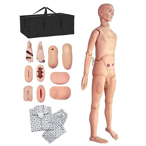 El 170cm Maniquí de atención al Paciente Capacitación CPR Simulador Geri básico Habilidades de enfermería Geriátrico Modelo Humano Maniquí para la Docencia Médica en Enfermería, Tamaño Natural ✅