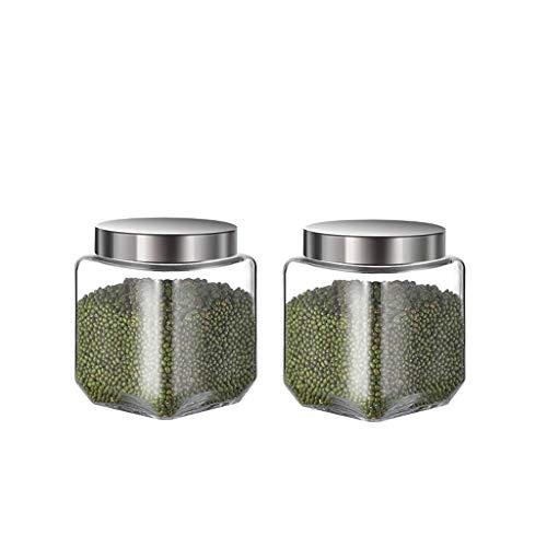 LIQIN Botes para Galletas Sellado Almacenamiento Frasco Granos de Cristal Transparente Botella...