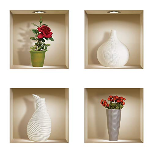 The Nisha 4 PC Pack Kunstige Magische Afbeeldingen Pel en Kleverig 3D Vinyl Verwisselbare Muursticker Decals DIY Kleverige Backsplash Stickers, Rode rozen en witte vaas