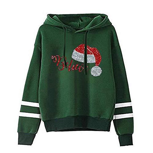 HFStorry Women's Funny Christmas Print Long Sleeve Casual Ladies Girls Sweatshirt Hoodie Pullover Tops