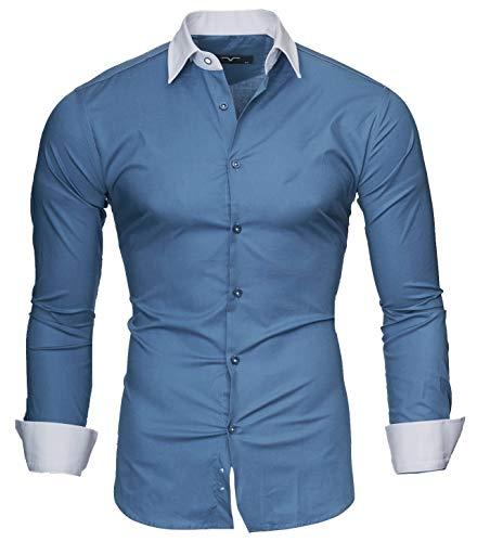 Kayhan Herren Hemd Mailand, Denim Blau (L)