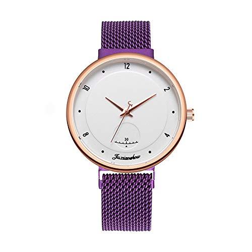 Sugely - Reloj de pulsera para mujer, minimalista, elegante, para mujer, estilo casual, ultra fino, minimalista, color morado