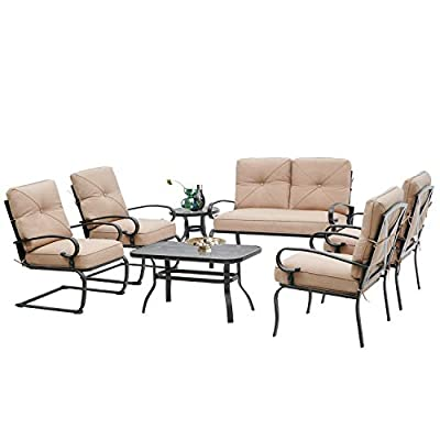 Incbruce 7Pcs Outdoor Patio Furniture Conversation Sets (Loveseat, Coffee Table and Bistro Table, 2 Spring Chair, 2 Lounge Chairs) - Steel Frame Cafe Furniture Sets with Cushions (Red)