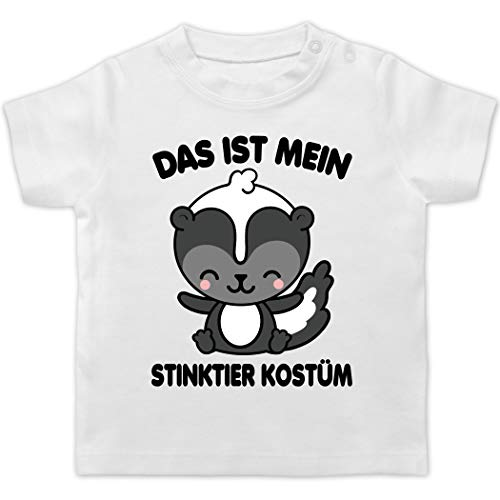 Karneval und Fasching Baby - Das ist Mein Stinktier Kostüm - schwarz - 12/18 Monate - Weiß - Karneval - BZ02 - Baby T-Shirt Kurzarm