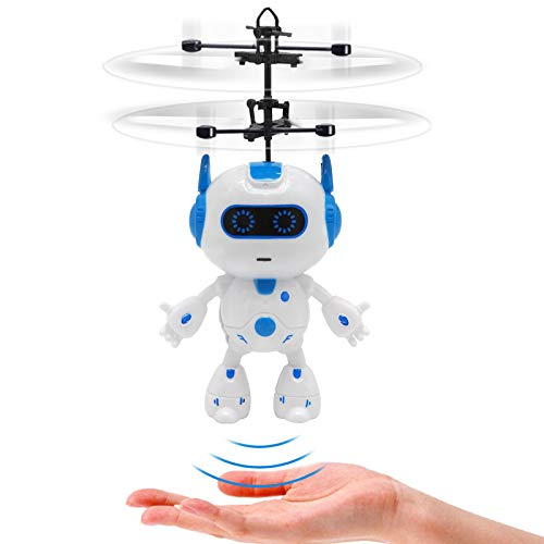 Tcvents Robot Flying Toys for Kids, Hand Control Flying Ball Space Robot Toy Gifts, Infrared Induction Kids Helicopter Drone Indoors Games Rechargeable Mini Drones for Boys Girls 6 7 8-12 Year Old