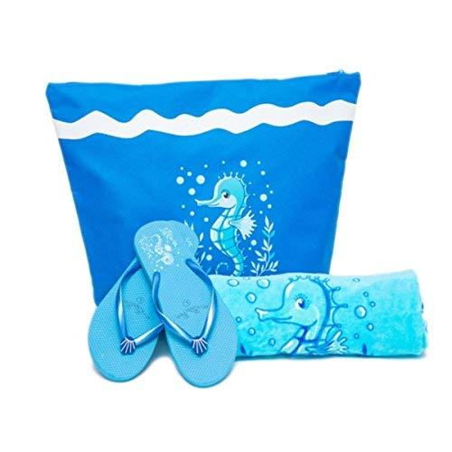 AIREE FAIREE Bolsa de Playa Para Mujer + Toalla de Playa + Chanclas 3 Piezas Caballo de Mar (EU 38-39, Azul oscuro)