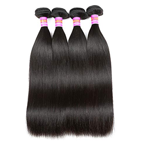 RN BEAUTY Brazilian Straight Virgin Hair 4 Bundles Deals Mink Unprocessed Remy Hair Good Cheap Weave Wefts Human Hair Extensions 50g/Piece 200Gram Natural Black Color 10 10 10 10 Inches