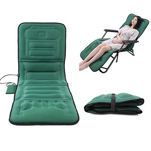 Tapis de Massage Chauffant Complet du Corps, Matelas de Massage électrique Pliable et Multifonctionnel, imite Le Massage Humain pour soulager la Douleur dans Les Jambes lombaires, Vert