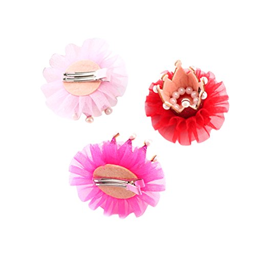 Frcolor 3 Stück Mädchen Haarspangen Krone Prinzessin Baby Haar Clips Haarklammer mit Perlen Kinder Haarschmuck