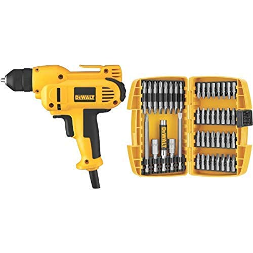 DEWALT DWD115K 8 Amp 3/8-Inch VSR Mid-Handle Grip Drill Kit with Keyless Chuck with DEWALT DW2166 45 Piece Screwdriving Set with Tough Case
