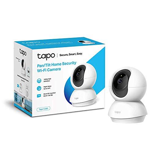 TP-Link TAPO C200 - Cámara IP WiFi 360°, Cámara de Vigilancia FHD 1080p, Visión nocturna, Admite tarjeta SD, Audio Doble Vía, Detección de movimiento, Control Remoto, Compatible con Alexa