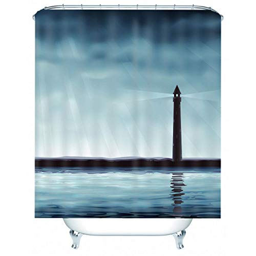 IJNOKM 3d Printed Lighthouse Landscape Shower Curtain,machine Washable Bath Curtain With Hooks,polyester Mould Proof Resistant Bathroom Curtain(W) 150×(H) 180CM
