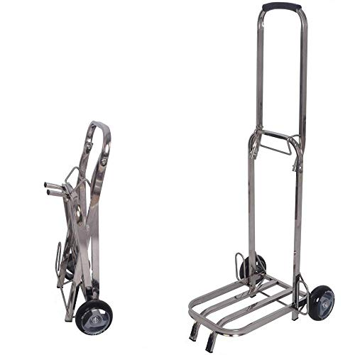 MIZE Stainless Steel Folding Foldable Trolleys With Anti Puncture Silent Wheel and 40 kg Capacity,Silver Shopping Trolley for Business Professional Travel And Commuter Briefcase
