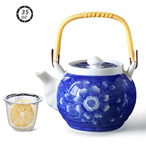 Cinf Japanese TeapotJapanese Dobin Classic Ceramic Handpaint Glaze Teapot with DiffuserTea Pot Ceramic for Tea/CoffeeHome and Office Use with Removable InfuserPeony Blue 1000 ml3521 oz …