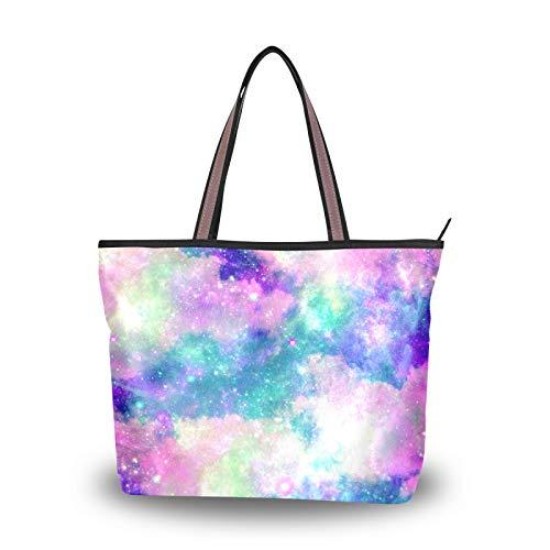 Dreamy Starry Sky Colorful Universe Galaxy Bolsos de hombro para madres, mujeres,...