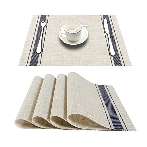 Conjunto de 4 PVC bambú manteles de plástico for el Comedor de Mesa sábanas Estera de Lugar situado en Accesorios de Cocina Taza del Vino Mat (Color : D Navy Blue, Talla : Set of 6)