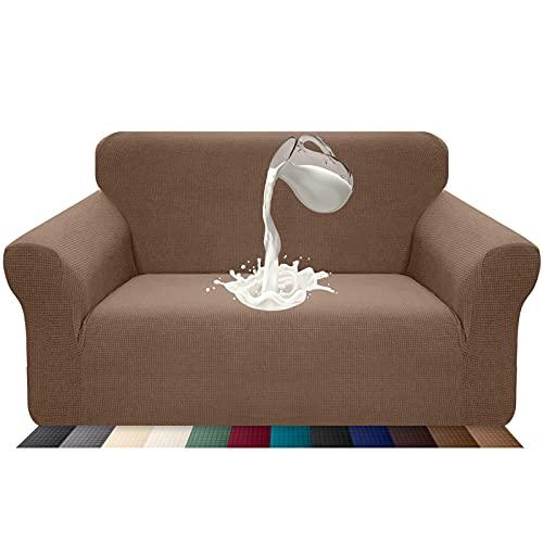 Luxurlife Funda de sofá Impermeable 2 Plazas Funda para Sofá Elástica Antideslizante Protector de Muebles Patrón para Sala de Estar(2 Plazas,Cachi)
