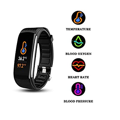 Smart Watch, Fitness Tracker with Body Temperature Thermometer Blood Oxygen Heart Rate Blood Pressure Monitor Sleep Monitor Step Counter Pedometer Calorie Counter IPX7 Waterproof for Women Men Kids