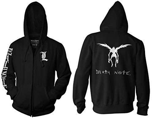Ripple Junction Death Note Adult Unisex L Chest Logo Sleeve Full Zip Fleece Hoodie MD Black