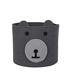 """InfiBay Cotton Rope Storage Basket with Cute Bear Design, Toy Storage Bin with Handles, Woven Laundry Hamper, Baby Nursery Organizer for Toys, Blanket, Clothes, Towels, 12""""(D) x 11""""(H)"""