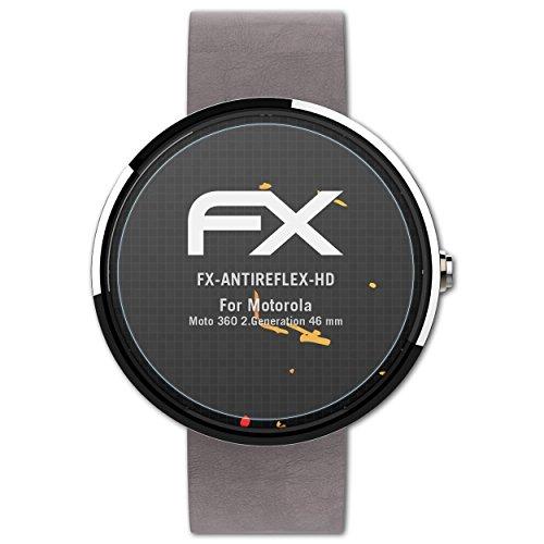 atFoliX Schutzfolie kompatibel mit Motorola Moto 360 2.Generation 46 mm Bildschirmschutzfolie, HD-Entspiegelung FX Folie (3X)