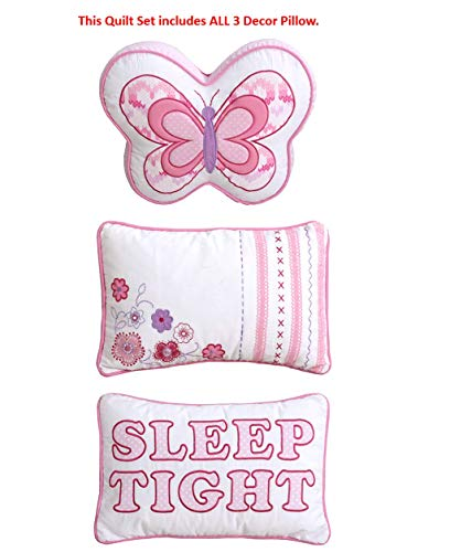 Cozy Line Home Fashions 5-Piece Lightweight Pink Butterfly Stripe Hearts 100% Cotton Bedding Quilt Set (Pink Butterfly, Twin - 5 Piece)